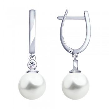 Серьги из серебра с жемчугом и фианитами, артикул 94022914