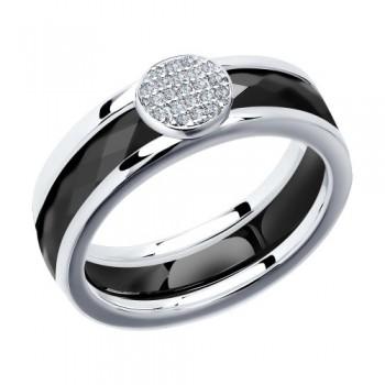 Кольцо из серебра с керамической вставкой и фианитом, артикул 94011611