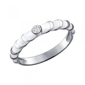 Кольцо из серебра с эмалью с фианитом, артикул 94011150
