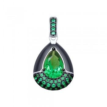 Подвеска из серебра с эмалью и зелёным ситаллом и фианитами, артикул 92030533