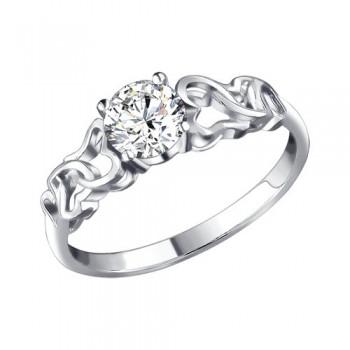 Кольцо из серебра с фианитом, артикул 94010858