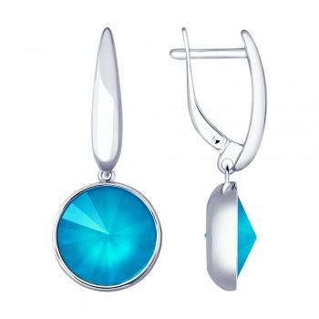 Серьги из серебра с голубыми кристаллами Swarovski, артикул 94022880