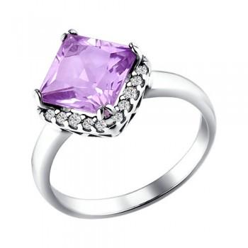 Кольцо из серебра с аметистом и фианитами, артикул 92010850