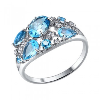 Кольцо из серебра с топазами и фианитами, артикул 92010219