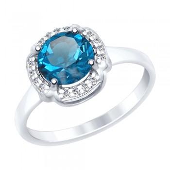 Кольцо из серебра с синим топазом и фианитами, артикул 92011516
