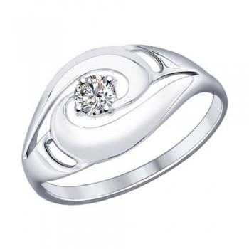 Кольцо из серебра с фианитом, артикул 94012157