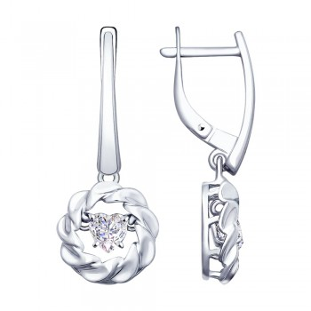 Серьги из серебра со Swarovski Zirconia, артикул 89020095
