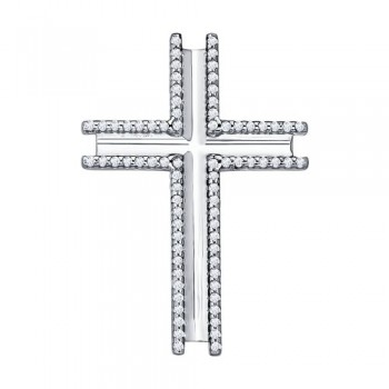 Крест из серебра с фианитами, артикул 94031252
