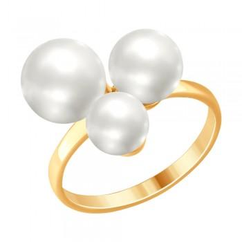 Кольцо из золочёного серебра с жемчугом, артикул 93010749