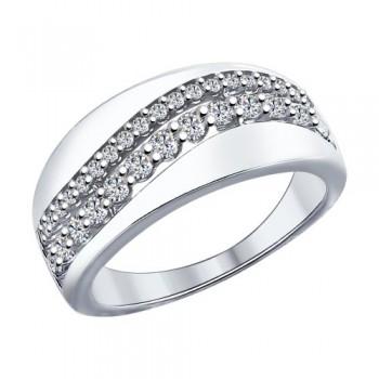 Кольцо из серебра с фианитами, артикул 94011963