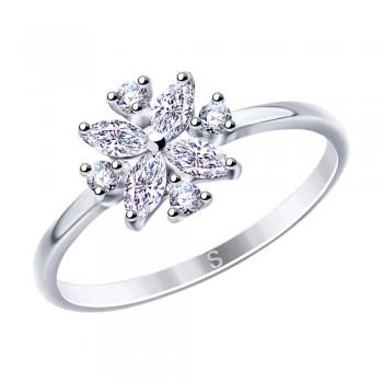 Кольцо из серебра с фианитами, артикул 94012865