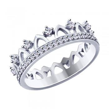 Кольцо из серебра с фианитами, артикул 94012755