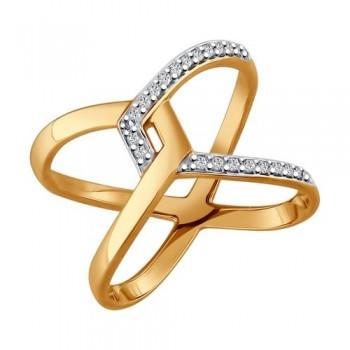 Кольцо из золочёного серебра с фианитами, артикул 93010590