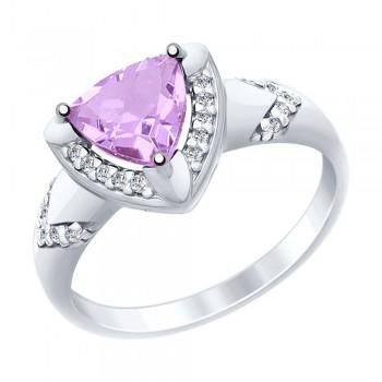 Кольцо из серебра с аметистом и фианитами, артикул 92011455
