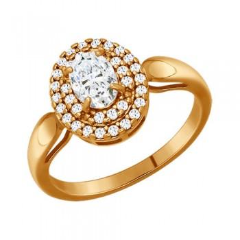 Кольцо из золочёного серебра с фианитами, артикул 93010340