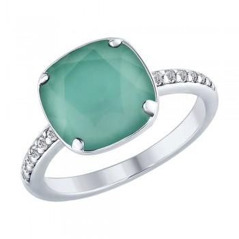 Кольцо из серебра с кристаллом Swarovski и фианитами, артикул 94012433