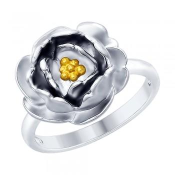 Кольцо из серебра с золочением, артикул 94012427