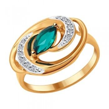 Позолоченное кольцо с изумрудом