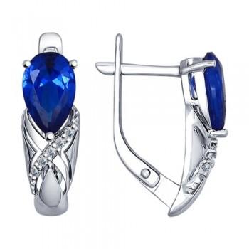 Серьги из серебра с бесцветными и синими фианитами, артикул 94022383