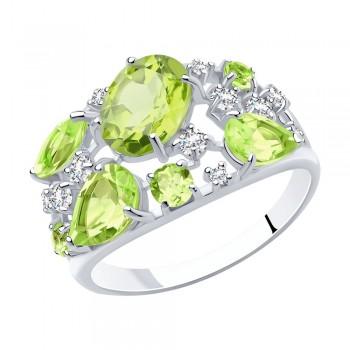 Кольцо из серебра с фианитами и хризолитами, артикул 92010280