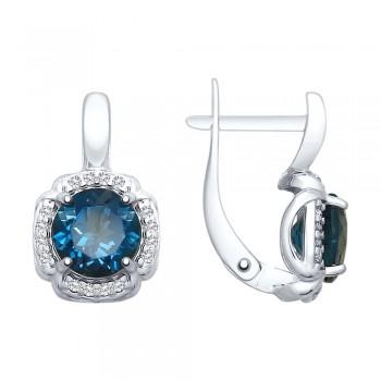 Серьги из серебра с синими топазами и фианитами, артикул 92021680