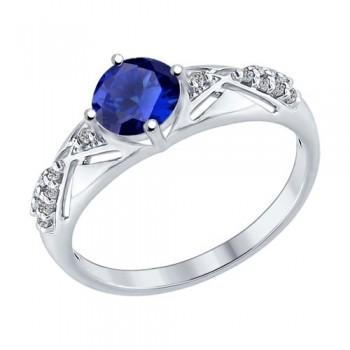 Кольцо из серебра с бесцветными и синим фианитами, артикул 94012217