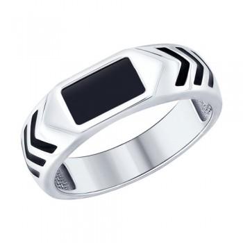 Кольцо из серебра с эмалью и ониксом