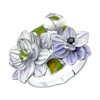 Кольцо из серебра с эмалью, артикул 94013081