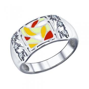 Кольцо из серебра с эмалью с фианитами, артикул 94011347