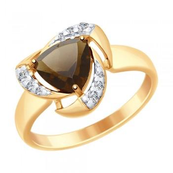 Кольцо из золочёного серебра с раухтопазом и фианитами, артикул 92011477