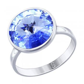 Кольцо из серебра с синим кристаллом Swarovski, артикул 94012606