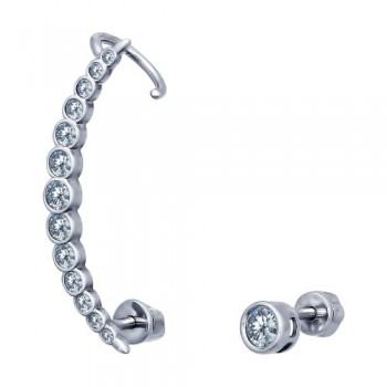 Серьги из серебра с фианитами, артикул 94021674