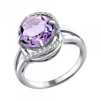 Кольцо из серебра с аметистом и фианитами, артикул 92010578