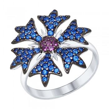 Кольцо из серебра с синими и сиреневыми фианитами
