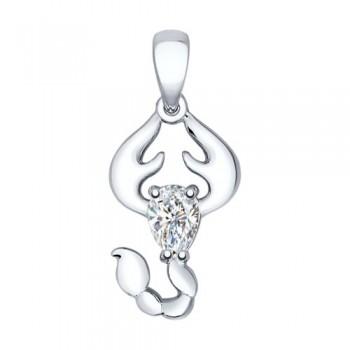 Кулон из серебра «Знак зодиака Скорпион»