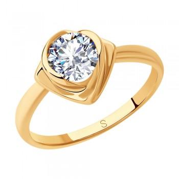 Кольцо из золочёного серебра с фианитом, артикул 93010811