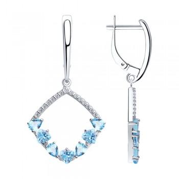Серьги из серебра с топазами и фианитами, артикул 92022106