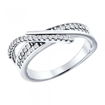Кольцо из серебра с фианитами, артикул 94010792