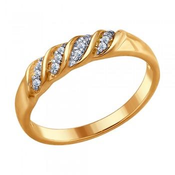 Кольцо из золочёного серебра с фианитами, артикул 93010671