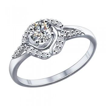 Кольцо из серебра с фианитами, артикул 94011769