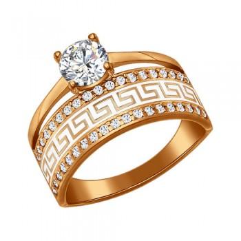 Кольцо из золочёного серебра с эмалью с фианитами, артикул 93010318