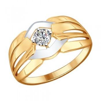 Кольцо из золочёного серебра с фианитом, артикул 93010599