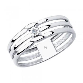 Кольцо из серебра с бриллиантом, артикул 87010024