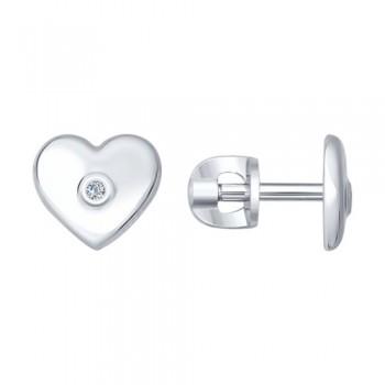 Серьги-пусеты из серебра с бриллиантами, артикул 87020006