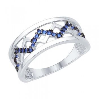 Кольцо из серебра с синими фианитами, артикул 94012164
