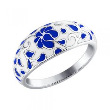 Серебряное кольцо «Гжель»