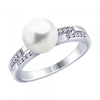 Кольцо из серебра с жемчугом Swarovski и фианитами, артикул 94012650