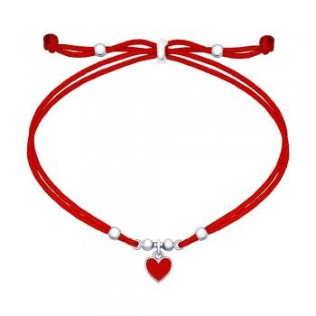Браслет с серебряной подвеской-сердечком