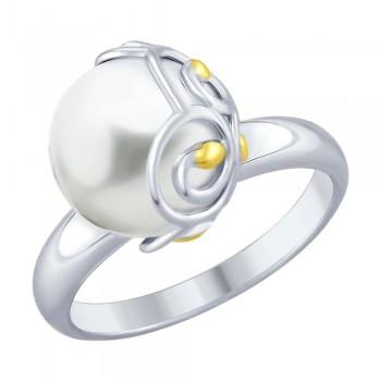 Кольцо из золочёного серебра с жемчугом, артикул 94012451