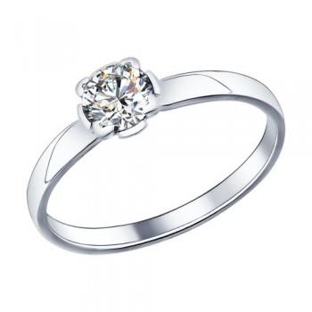 Помолвочное кольцо из серебра с фианитом, артикул 89010010
